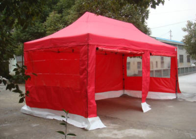 Instaframe 50 Tent 6m x 3m Red with white skirting